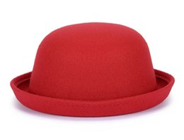 Wholesale Boys Straw Hat - 2017 Novo Tampão do Inverno Da Senhora Do Vintage chapéu de Feltro de Lã Sentiu Chapéus Fedora Z-5307