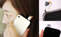 Wholesale Iphone Dust Plug Android - 3.5MM Mobile Phone Earphone Jack Cute Cartoon Cat Model Dust-Proof Plug For iPhone For Android Smart Phone