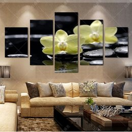 Wholesale Oil Painting Framed Landscape Yellow - 5 Piece Canvas Art Wall Pictures For Living Room Yellow Phalaenopsis Canvas Oil Painting Art Pintura Cuadros Decoracion No Frame