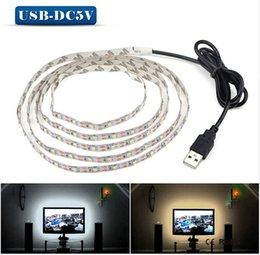 Wholesale Led Cable Lighting For Pc - 5V USB LED strip 50CM 1M 2M USB Cable Power light lamp SMD 5050 Christmas desk Decor lamp tape For TV Background Lighting