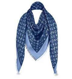 Wholesale Denim Wool - Denim Blue L Brand Check Wool Cotton Cashmere Silk Scarves Scarf Wrap Shawl Pashmina 140x140cm