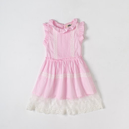 Wholesale Girls Lace Fitted Dress - Girls dresses Summer kids sleeveless ruffle dress children lace hollow out hem pleated dress girls fit 2-8T casual clothes C1297
