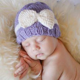 Wholesale Cotton Crochet Baby Bonnets Boys - Newborn Knit Beanie Hats Baby Boy Girls Wool Crochet Bows Caps Toddler Kid Cotton Wraps Infant Unisex Hair Accessories Photography Bonnet