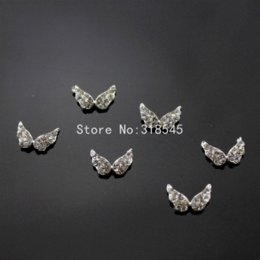 Wholesale Cheap Christmas Nails - ilver Angel Wing Christmas Nail Art Clear Glitter decoration Alloy Rhinestone 100pcs Rhinestones & Decorations Cheap Rhinestones &am...
