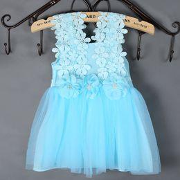Wholesale Crochet Vest For Girls - Girls Lace Crochet Vest Dress Fashion Summer Sleeveless Flower Dresses For Baby Princess Lace Dress Party Kids Clothes