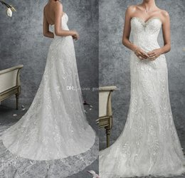 Wholesale Modified Sweetheart - elegant modified A-line lace wedding dresses 2018 full embellishment medium train strapless sweetheart neckline bridal wedding gowns