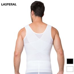Wholesale Weight Vest Wholesale - Wholesale-LASPERAL Mens Chest Shaper Tank Top Bodybuilding Corset Compression Lose Weight Vest Tummy Belly Girdle Shirt Shapewear Tops