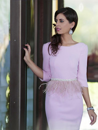 Wholesale Short Purple Bridesmaid Dresses Feathers - cocktail party dresses 3 4 long sleeves sexy back knee length prom short dress feather sash stain evening bridesmaid gowns