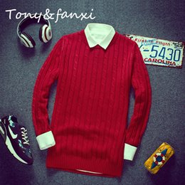 Wholesale Korean Orange Sweater - Wholesale-2016 New Pure Mens Sweaters Korean Men's Sweater Hedging Cotton Solid Color Fashion Casual Long Sleeve Pullovers Knitwear Men