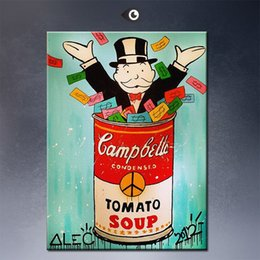 Wholesale Decoration Spray - Andy warhol Alec monopoly Graffiti art print on canvas for wall picture decoration oil painting for decorative movie poster