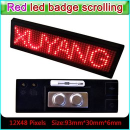 Wholesale Tagging Message - High Quality 12*48 Pixels Red Color Scrolling Message Led Name Badge Rechargeable Led Name Tag For Event With Multi-lingual