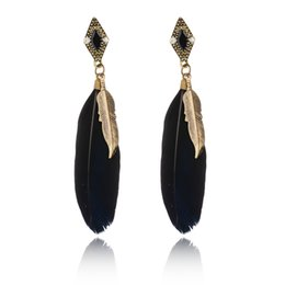 Wholesale Design Feather Earring - Bohemian Earrings Gold Plated Black Feather Leaf Design Long Drop Earrings For Women Girls Party Jewelry