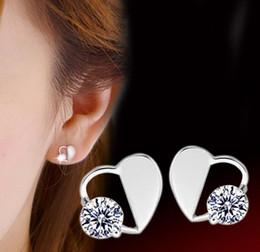 Wholesale Jewellry Earrings - 925 Sterling Silver Stud Earrings Jewelry with Zircon Heart Shaped Blossom Earrings Studs Fashion Crystal Love Jewellry for Women