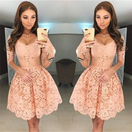 Wholesale Backless Half Sleeve Homecoming Dress - 2018 New Sweet V Neck Full Lace Short Homecoming Dresses Half Sleeves Zipper Back Mini Short Cocktail Dresses Party Wear BA6953