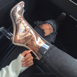 Wholesale Transparent Martin Boots Green - Zapatos Mujer Sexy PVC Transparent Ankle Boot Plastic Summer Shoes Women Botas Chunky Heels Lucite 11cm White Block High Heels Clear Booties