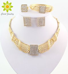 Wholesale Costume Jewelry Sets For Sale - Hot Sale African Costume Jewelry Set Gold Plated Crystal Jewelry Sets Fashion Necklace Set For Women Wedding