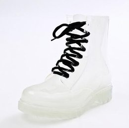 Wholesale White Flat Thigh High Boots - Clear Rubber Jelly Lace Up Oxford Ankle Combat Rain Boots Womens Shoes Size35-40