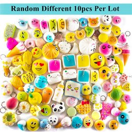 Wholesale Bread Fruit - Random 10pcs per lot Squishies Toys Cream Scented Slow Rising Kawaii Simulation Lovely Soft Food Fruit Bread Squishy Toy With Phone Straps