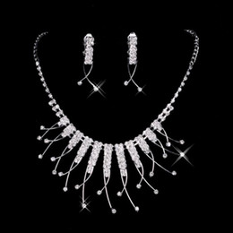Wholesale Cheap Rhinestone Bridal Jewelry - 2016 Cheap In Stock Unique Wedding Bridal Bridesmaids Rhinestone Necklace Earrings Jewelry Sets For Prom Party 15021 Free Shipping