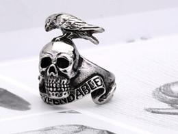 Wholesale Titanium Skull Rings For Men - Titanium Steel Skull Bird Ring Punk Cool Style For Men Fashion Jewelry New Whosale European Design