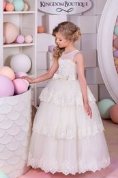 Wholesale Wedding Fairytale - Ivory Lace Flower Girls Dresses for Weddings Sheer Crew Neck Tulle Bow Knot Girls Pageant Dresses Sweep Train Custom Made Fairytale Dresses