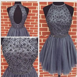 Wholesale special occasion mini dress - Short Cheap Homecoming Dresses 2017 New Arrival Special Occasion Halter Open Back Beading Sweet 15 16 Knee Length Fotr Girls