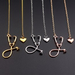 Wholesale stethoscope wholesale - I Love You Heart Stethoscope Necklace Silver Rose Gold Pendant Fashion Jewelry for Women Nurse Doctor Best Friend Gift DROP SHIP 162506
