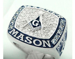 Wholesale Express Settings - New arrival amazing blue lodge masonic championship ring with velvet ring box and free express shipping