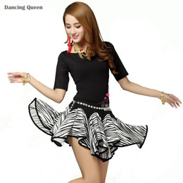 Wholesale Tango Dresses For Dance - 2016 New Latin Dance Dress Women Zebra Regata Feminina Free Size Clothing For Dance Clothes For Dancing Tango Cha Cha Dresses