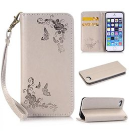 Wholesale Soft Leather 4s Card - Butterfly Love Flowers Folio PU Wallet Leather Cases with TPU Soft Case Wrist Chains for iphone 5 5s SE 5C 4s 11 colors