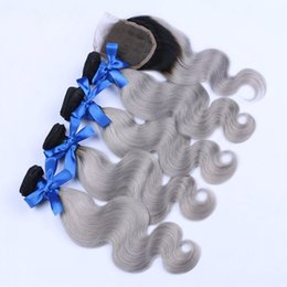 Wholesale Natural Grey Hair - 8A Grade Sliver Grey Ombre Brazilian Hair 4 Bundles With Lace Closure Ombre Brazilian Body Wave 100% Human Hair Weave With Lace Closure