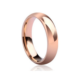 Wholesale Thick 18k Gold Rings - Never fading Titanium lovers 6mm thick ring real rose gold plated finger ring men women wedding ring USA SIZE