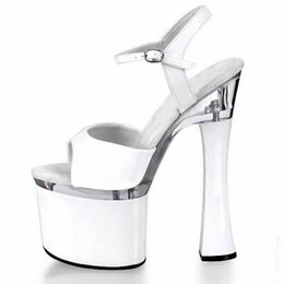 Wholesale Shoes Sex White - Customize Stylish Sex Red Black White 18cm Super High Heel Platforms Pole Dance Performance Star Model Shoes Wedding Shoes D0210