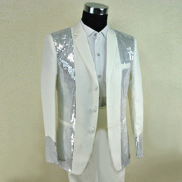 Wholesale Clothes For Nightclub - Wholesale- 2015 male costume fashion costume 99 men's clothing paillette white suits clothes costume for singer dancer star nightclub show