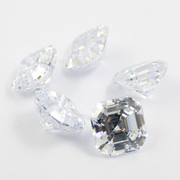 Wholesale Synthetic Gems Wholesale - 100pcs lot free shipping AAA cubic zirconia white asscher cut loose gem stones
