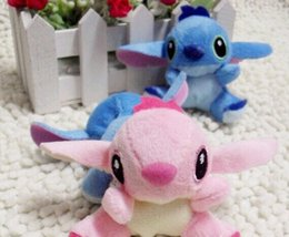 Wholesale Small Plush Stitch Toy - [3Pair Lover] 7*6CM Lilo Stitch Plush Stuffed TOY Small Phone Charm Strap Pendant Lanyard DOLL BAG Key Chain TOY Bouquet TOY