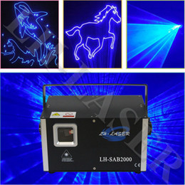 Wholesale Uk Animations - LH-SAB2000 DMX512 + ILDA Interface +Auto+Sound 2W Single Blue color animation logo laser light show party lights laser projector