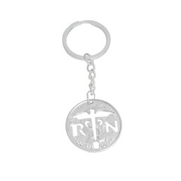 Wholesale Medicine Jewelry - Nurse Prayer Cut Coin Pendant Necklace Silver Color RN Keychain Keyring Key Chain For Medicine students Patient Doctors Jewelry