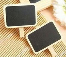 Wholesale Mini Blackboard Message - 2016 new Lovely Household Wood Clip MINI Blackboard Wooden Clip Small Clamps Message Board free shipping