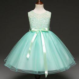 Wholesale Gauze Bow Vest Dress - 2017 New Style Flower Girl Wedding Dress Sleeveless Vest Princess Lace Dress Festive Gauze Tutu Dress