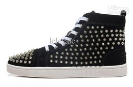 Wholesale Man Spike Street Shoe - Man Causal Shoes Black Matte Leather Silver Spikes High Shoes Men Flat Street Dress Shoes