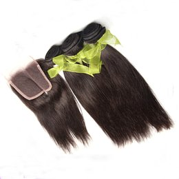 Wholesale Wholesale Natural Hair Supplies - Supply Indian Human Hair Weave Remy Hair Bundles With Lace Closure Straight Hair Natural Color Dyeable Top Lace Closure With Hair Bundles