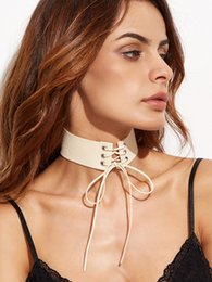 Wholesale Gothic Chokers Ribbon - Suicide Squad Cheap Women Fashion Lace Up Chokers Necklaces Punk Gothic Vintage Colorful Leather Wide Ribbon Anime Feminino Jewelry 1pcs
