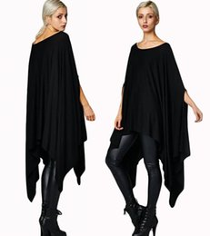 Wholesale Asymmetrical Shirts For Women - New 2016 Womens T Shirts Sexy Oversized Asymmetric Tunic Poncho Cape Casual Top For Women Batwing Sleeve irregular Loose t-shirt