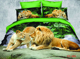 Wholesale Lion Print Comforter Sets - Animal Printed Bedding Sets Polyester Cotton 3D Lion Six Pieces Home Bedding Supplies Inclduing Duvet Cover Flat Sheet And Pillowcases