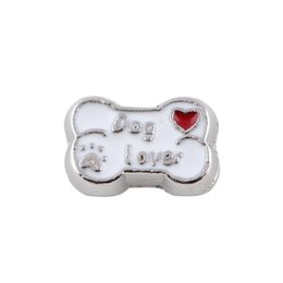 Wholesale Dog Floating Charms - 20pcs lot Free Shipping Dog lover bone floating locket charms DIY Accessories Fit floating living memory locket