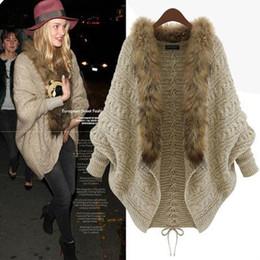 Wholesale Crochet Pattern Long Sweater - 2016 Autumn And Winter Dress New Pattern Suit-dress Knitting Cardigan Cloak Shawl Bat Shirt European Fur Collar Sweater Loose Coat