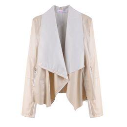 Wholesale long women british coat - Wholesale-S~4XL Plus Size Brand Womens Leather Jackets And Coats British Style Long Sleeve Casual Women Leather Jacket Coat Overcoat 07749