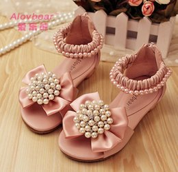 Wholesale Baby Girl High Heels - Baby Girls Sandals Cute Pearls Baby Sandals Princess Girls Sandals Children princess Shoes Leather 2CM High Heel Party shoes 6135