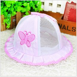 Wholesale newborn cotton butterfly - Hot Selling Newborn Anti-sun hats Girls Boys Summer Visor Caps Trendy Baby Toddler Butterfly Bowl Hat Cotton Mesh Breathable Cozy 0-12M